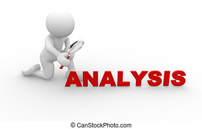 3d people - man, person person looking at the word analysis through a magnifying glass