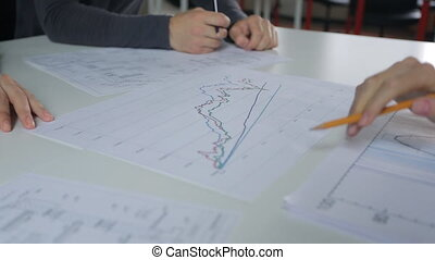 Analysis and discussion of graphs on table, male and female hand with a pencil.