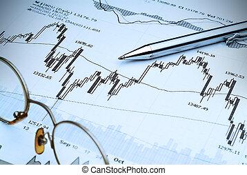 analysis-blue, színez, piac, részvény