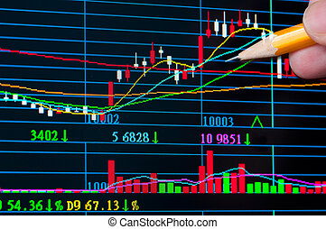 Analysis colorful stock chart on monitor. finance concept.