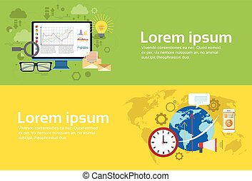 Analysis Computer Finance Diagram Set Digital Marketing Business Web Banner