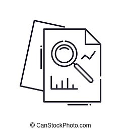 Analysis concept icon, linear isolated illustration, thin line vector, web design sign, outline concept symbol with editable stroke on white background.