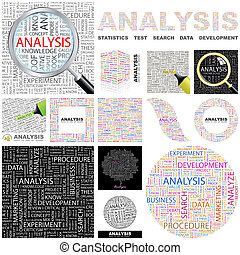 Analysis. Concept illustration. - Analysis. Word cloud...
