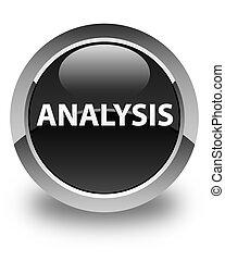 Analysis glossy black round button
