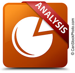 Analysis (graph icon) brown square button red ribbon in corner