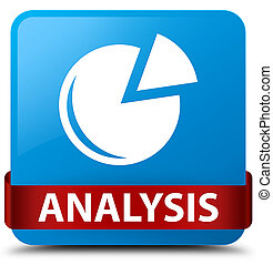 Analysis (graph icon) cyan blue square button red ribbon in middle