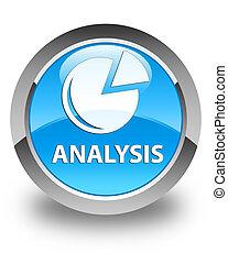 Analysis (graph icon) glossy cyan blue round button