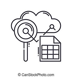 Analysis graph icon, linear isolated illustration, thin line vector, web design sign, outline concept symbol with editable stroke on white background.