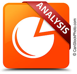 Analysis (graph icon) orange square button red ribbon in corner
