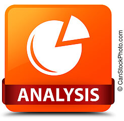 Analysis (graph icon) orange square button red ribbon in middle