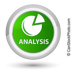 Analysis (graph icon) prime green round button