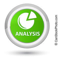 Analysis (graph icon) prime soft green round button