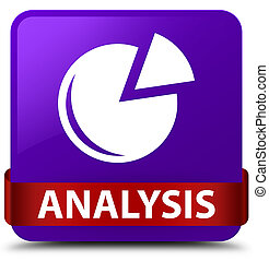 Analysis (graph icon) purple square button red ribbon in middle