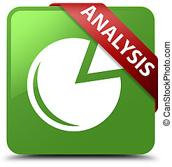 Analysis (graph icon) soft green square button red ribbon in corner