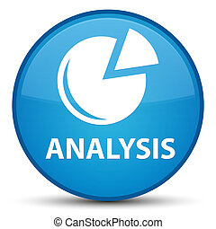 Analysis (graph icon) special cyan blue round button