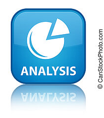 Analysis (graph icon) special cyan blue square button