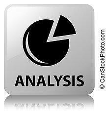 Analysis (graph icon) white square button