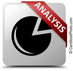 Analysis (graph icon) white square button red ribbon in corner