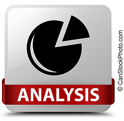 Analysis (graph icon) white square button red ribbon in middle