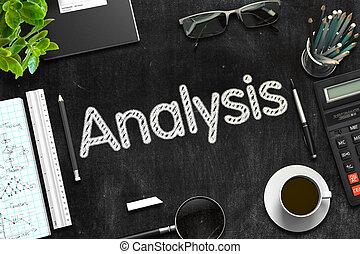 Analysis Handwritten on Black Chalkboard. 3D Rendering.