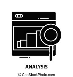 analysis icon, black vector sign with editable strokes, concept illustration