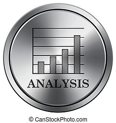Analysis icon. Round icon imitating metal.