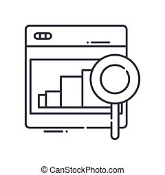 Analysis idea icon, linear isolated illustration, thin line vector, web design sign, outline concept symbol with editable stroke on white background.