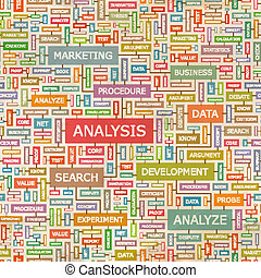 ANALYSIS. Seamless pattern. Concept related words in tag...