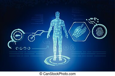analysis - abstract technological health care; science blue...