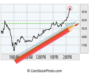 Analysis of stock market graph. Finance concept illustration.