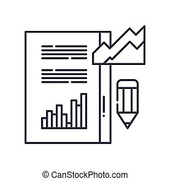 Analysis report icon, linear isolated illustration, thin line vector, web design sign, outline concept symbol with editable stroke on white background.