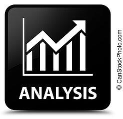 Analysis (statistics icon) black square button
