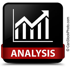 Analysis (statistics icon) black square button red ribbon in middle