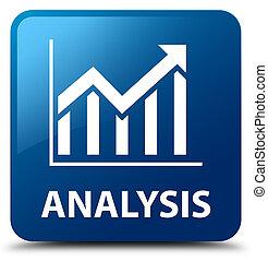 Analysis (statistics icon) blue square button