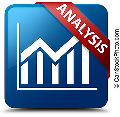 Analysis (statistics icon) blue square button red ribbon in corner