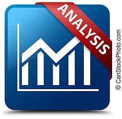 Analysis (statistics icon) blue square button red ribbon in corner