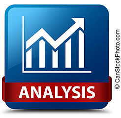 Analysis (statistics icon) blue square button red ribbon in middle