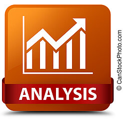 Analysis (statistics icon) brown square button red ribbon in middle