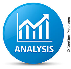 Analysis (statistics icon) cyan blue round button