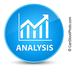Analysis (statistics icon) elegant cyan blue round button