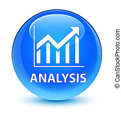 Analysis (statistics icon) glassy cyan blue round button