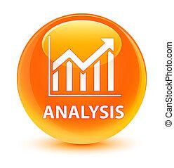 Analysis (statistics icon) glassy orange round button