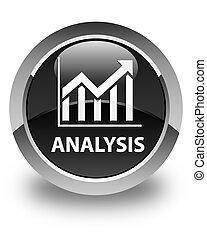 Analysis (statistics icon) glossy black round button