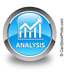 Analysis (statistics icon) glossy cyan blue round button