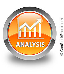 Analysis (statistics icon) glossy orange round button