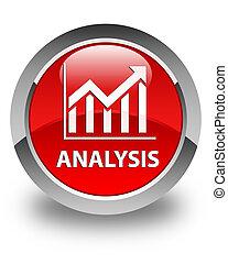 Analysis (statistics icon) glossy red round button