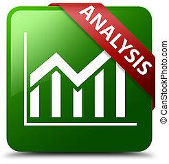 Analysis (statistics icon) green square button red ribbon in corner