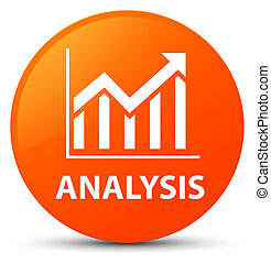 Analysis (statistics icon) orange round button
