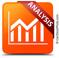 Analysis (statistics icon) orange square button red ribbon in corner