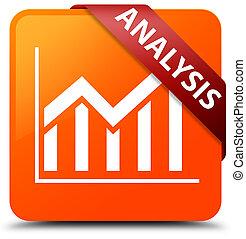 Analysis (statistics icon) orange square button red ribbon in corner